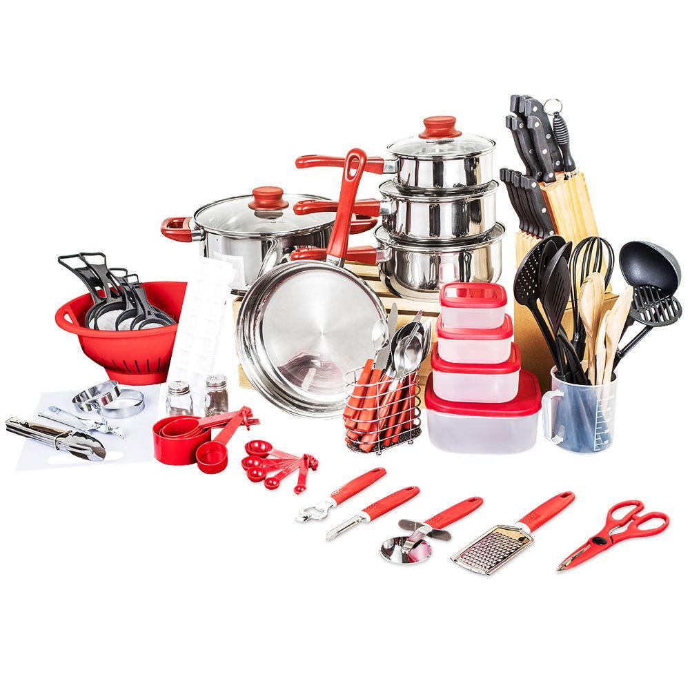 2019 panneaux De céramica arrivée Fda haut à la mode batterie De cuisine réelle casseroles et casseroles ensemble 80 pièces cuisine démarreur Combo ustensile