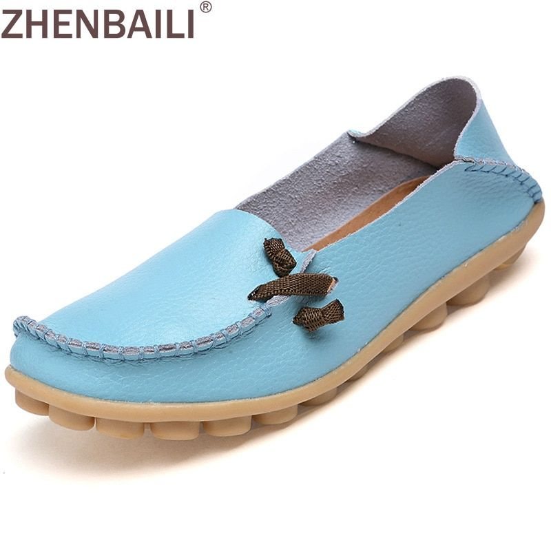 Size 34 -44 Genuine Leather Women Shoes 2017 Fashion Lace up Casual Flat Shoes Peas Non-Slip Outdoor Shoes 16 Colors