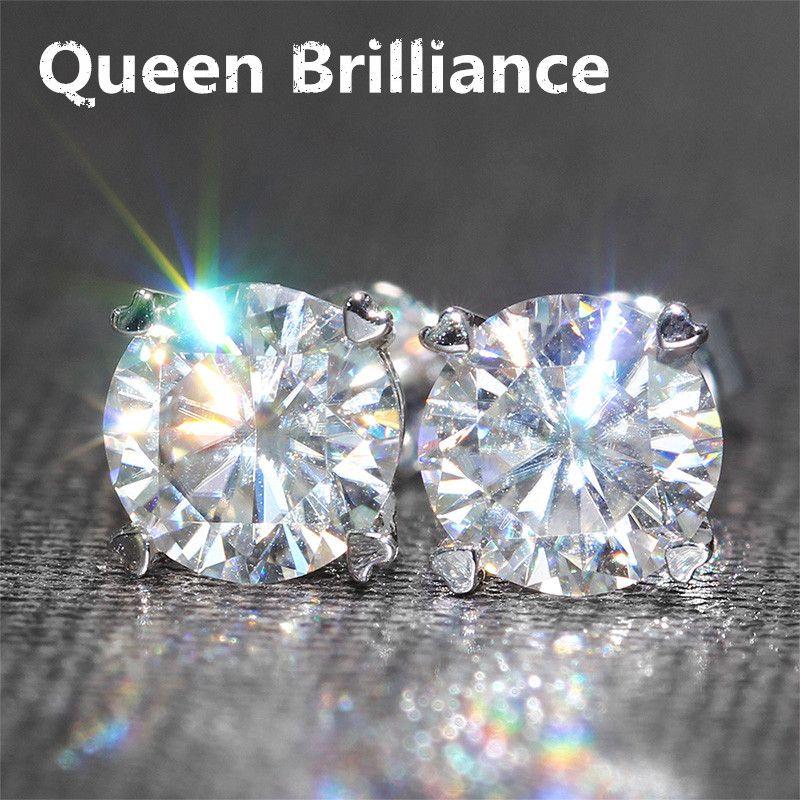 Genuine14K 585 White Gold Screw Back 2 Carat ctw F Color Test Positive Lab Grown Moissanite Diamond Earrings For Women