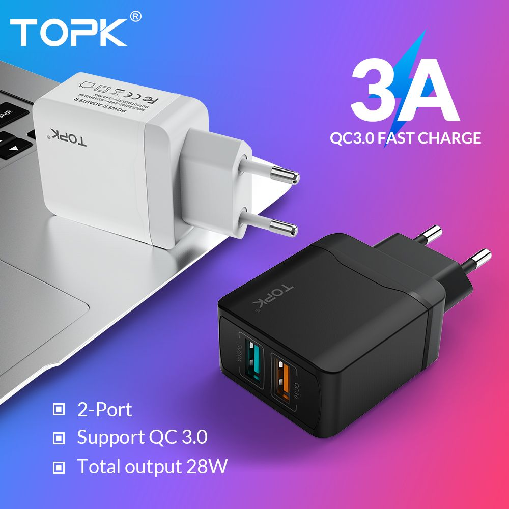 TOPK B244Q Quick Charge 3.0 28W QC 3.0 Dual USB Charger Adapter EU Travel Wall Mobile Phone Charger for iPhone Samsung Xiaomi