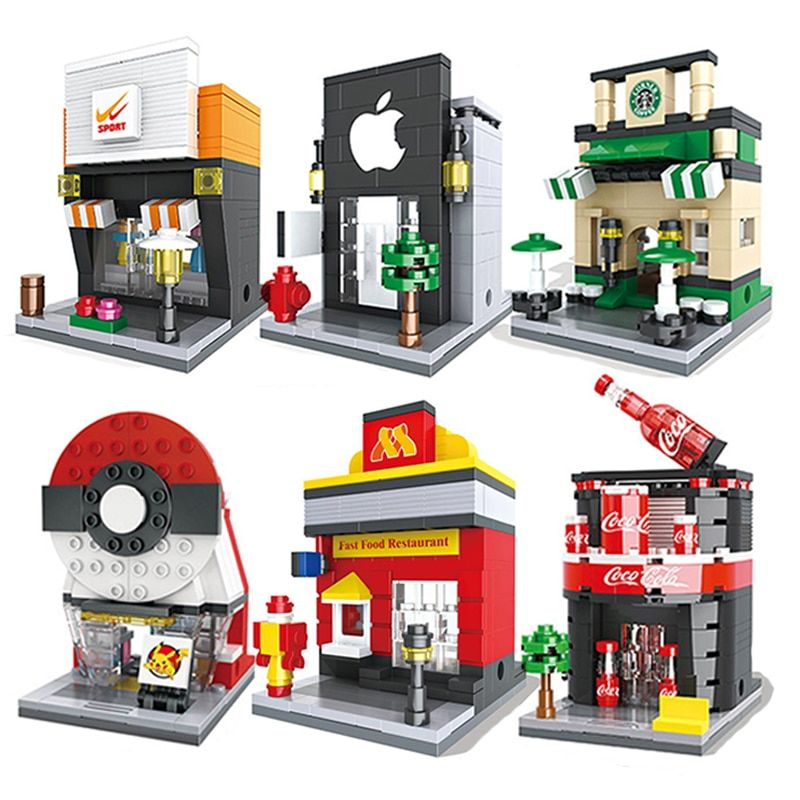 Building Blocks Mini Street Model Shop City Series Brick Kids Figure Toys Educational Compatible With Legoe Toys For Children