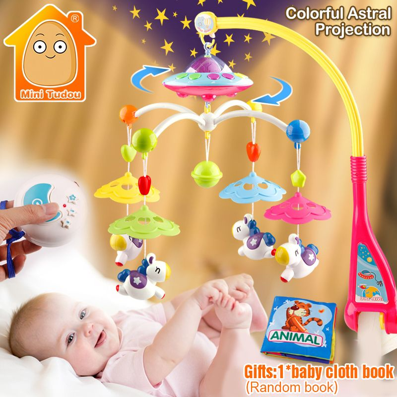 MiniTudou Baby Toys 0-12 Months Crib Mobile Musical Bed <font><b>Bell</b></font> With Animal Rattles Projection Cartoon Early Learning Kids Toy