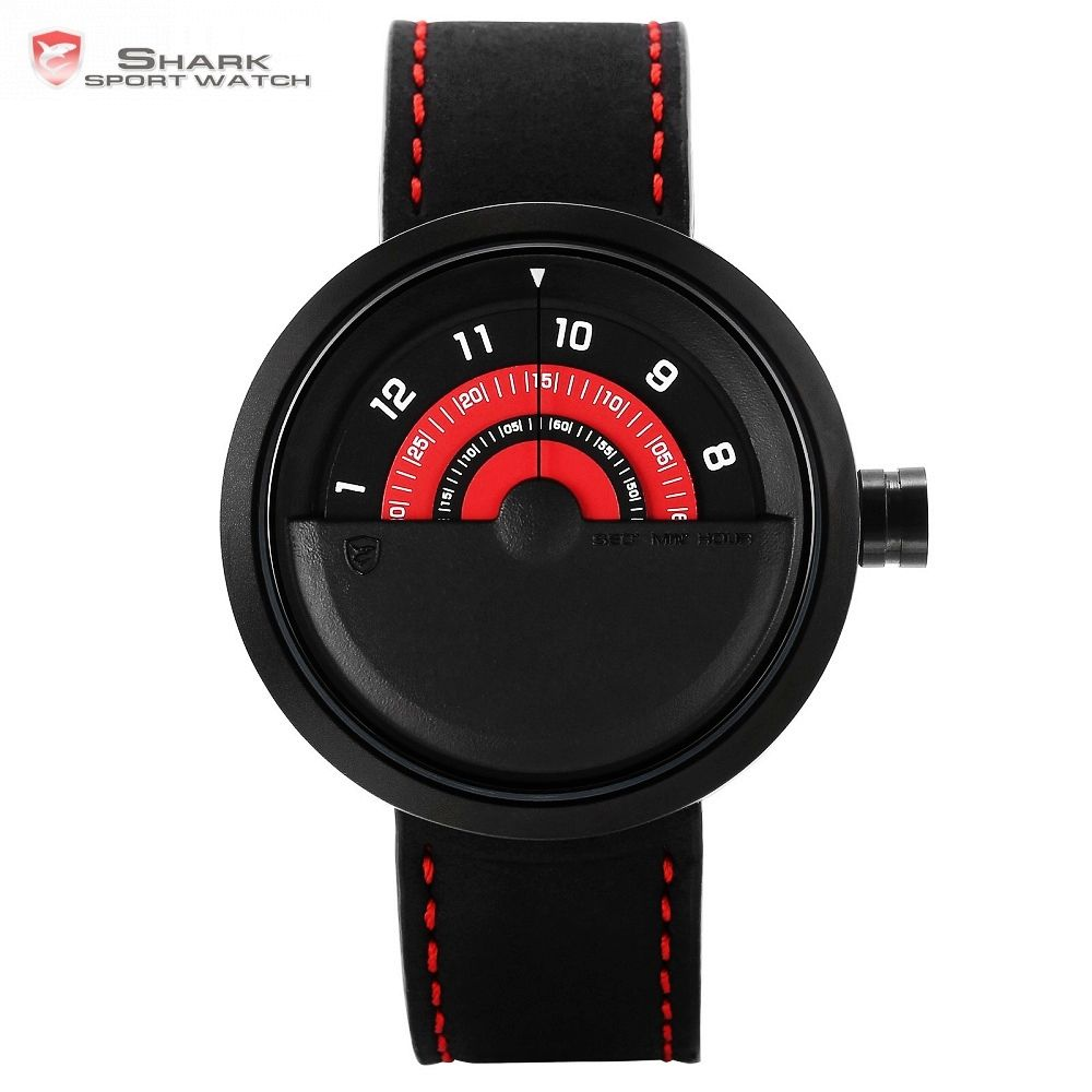 Bonnethead Shark Sport Watch New Turntable Dial Red Analog Quartz Soft Crazy Horse Leather Unique Design Mens Wristwatch /SH421