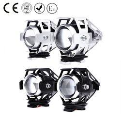 2 Pcs U5 LED Moto Phare High Beam Transformer Spotlight 3000LM 12 V Haute Luminosité Moto Brouillard Tête lampe avec commutateur