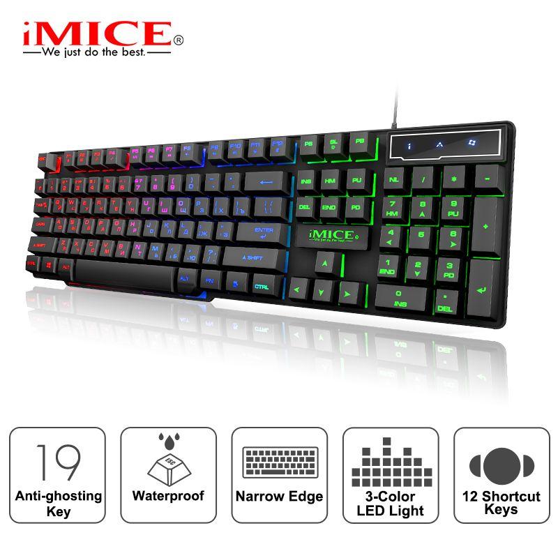 Clavier de jeu iMice clavier mécanique Imitation avec rétro-éclairage clavier de Gamer russe clavier de jeu USB filaire pour ordinateur