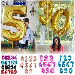 32 дюймов золотое серебряное число алюминиевых фольгированных шаров буквы гелий украшения из воздушных шаров на день рождения Свадебные Во...
