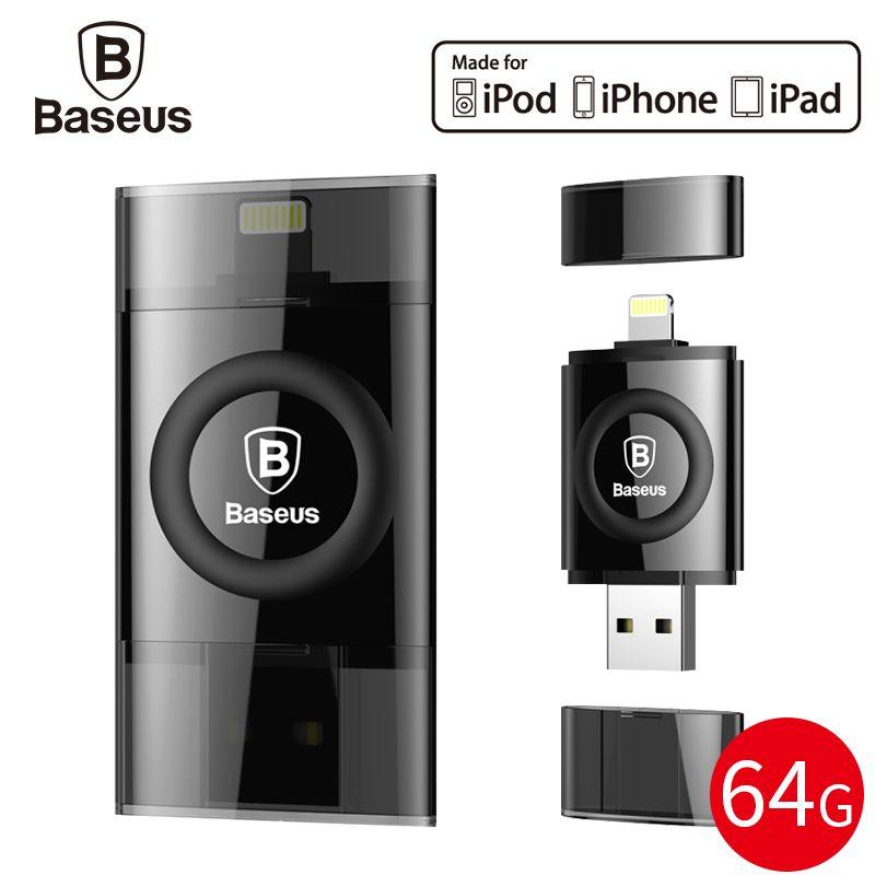 Baseus MFI 64GB USB Flash Drive For iPhone X 8 7 6 6s Plus 5 se iPad Pen Drive For Lightning U Disk HD Memory Stick OTG Pendrive