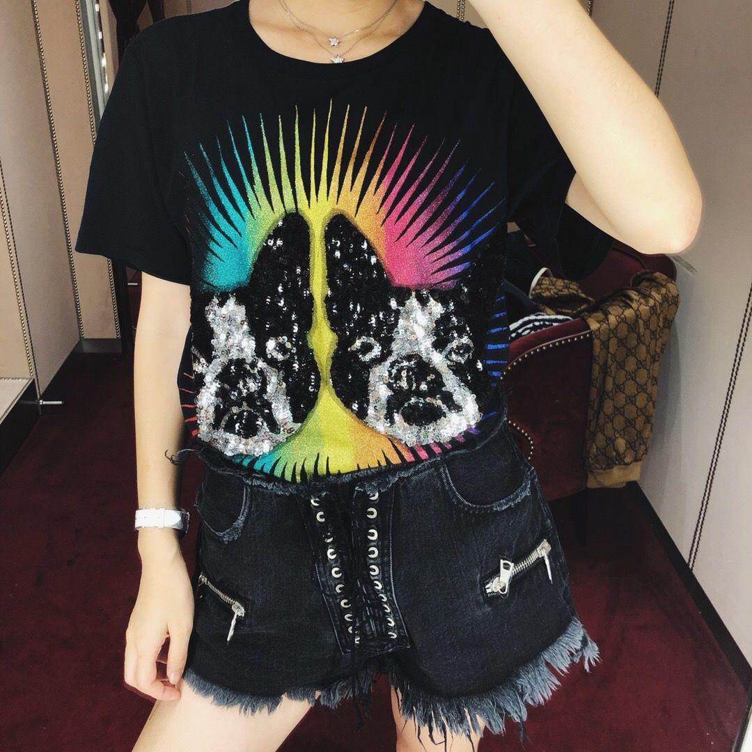 2019 newPrinted baumwolle T-shirt 1 farben 3 größen frühling kleidung frauen