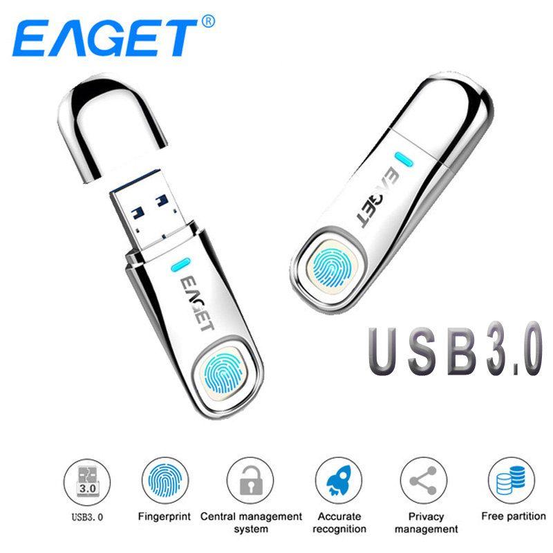 Eaget USB-Stick 64 GB 32 GB USB 3.0 Pen drive 64 GB Fingerprint Verschlüsselung Metall Stick USB Stick 32 GB Speicher Flash Disk