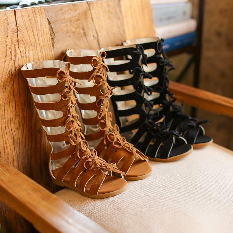 Vente chaude d'été mode bottes romaines haut de gamme filles sandales enfants gladiateur sandales enfant en bas âge sandales filles chaussures de haute qualité