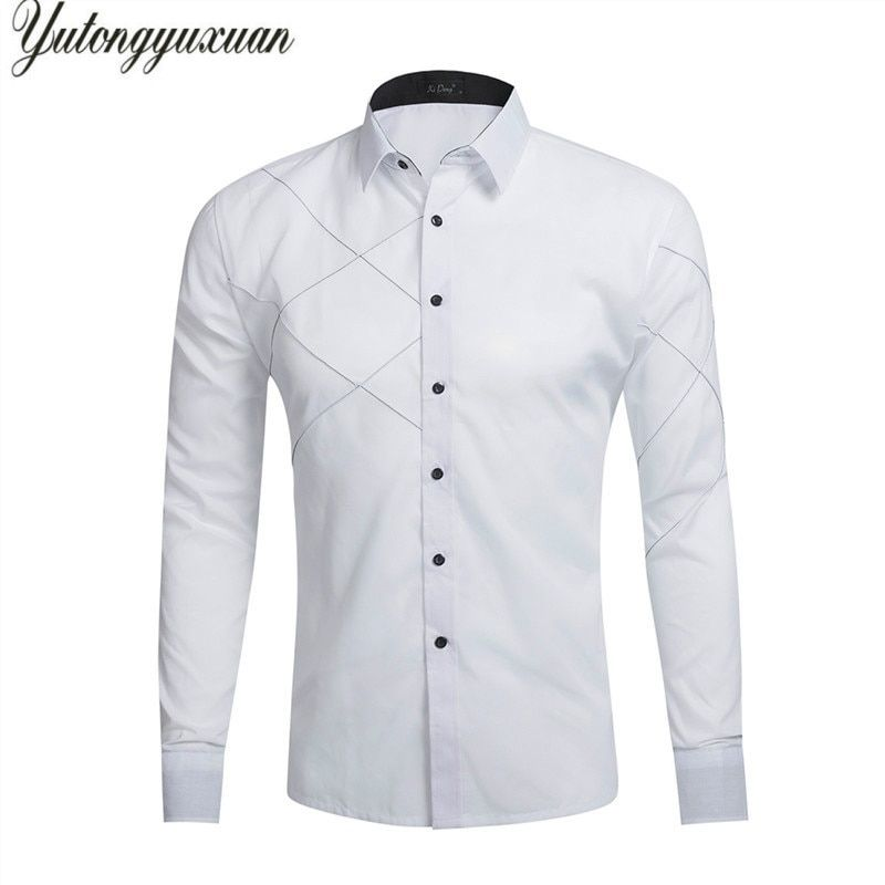2017 Full Cotton New Slim Fit Casual Men Shirt Classical Solid Color British Stylish Long Sleeve Camisa Masculina Wedding Tops