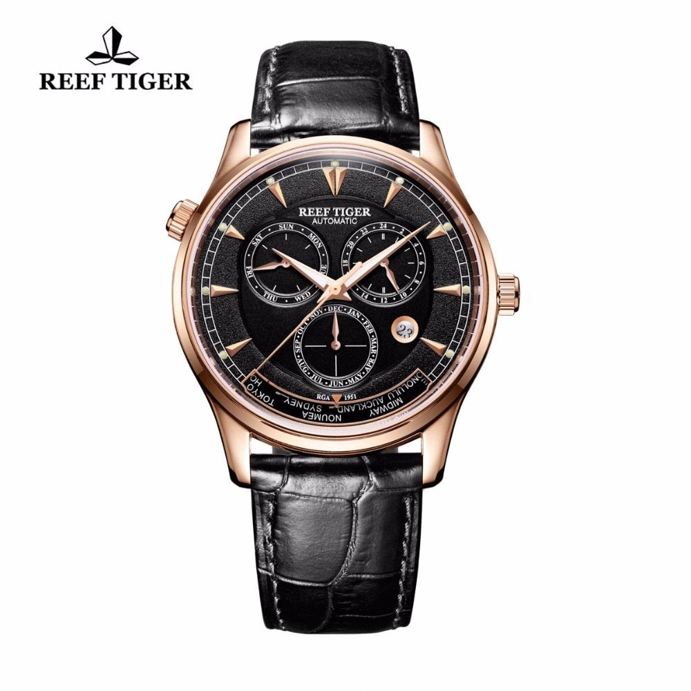 Reef Tiger/RT Designer Men's Watch with World Time Date Rose Gold Automatic Watch RGA1951