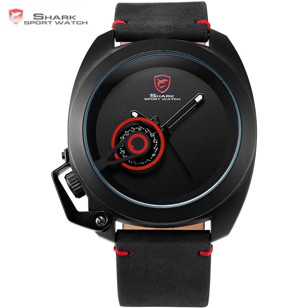 Tawny Shark Sport Uhr Rot Datum Krone Schutz Design Männlichen Luxus Echtem Leder Handgelenk Uhren Herren Mode Quarz Relogio/ SH446