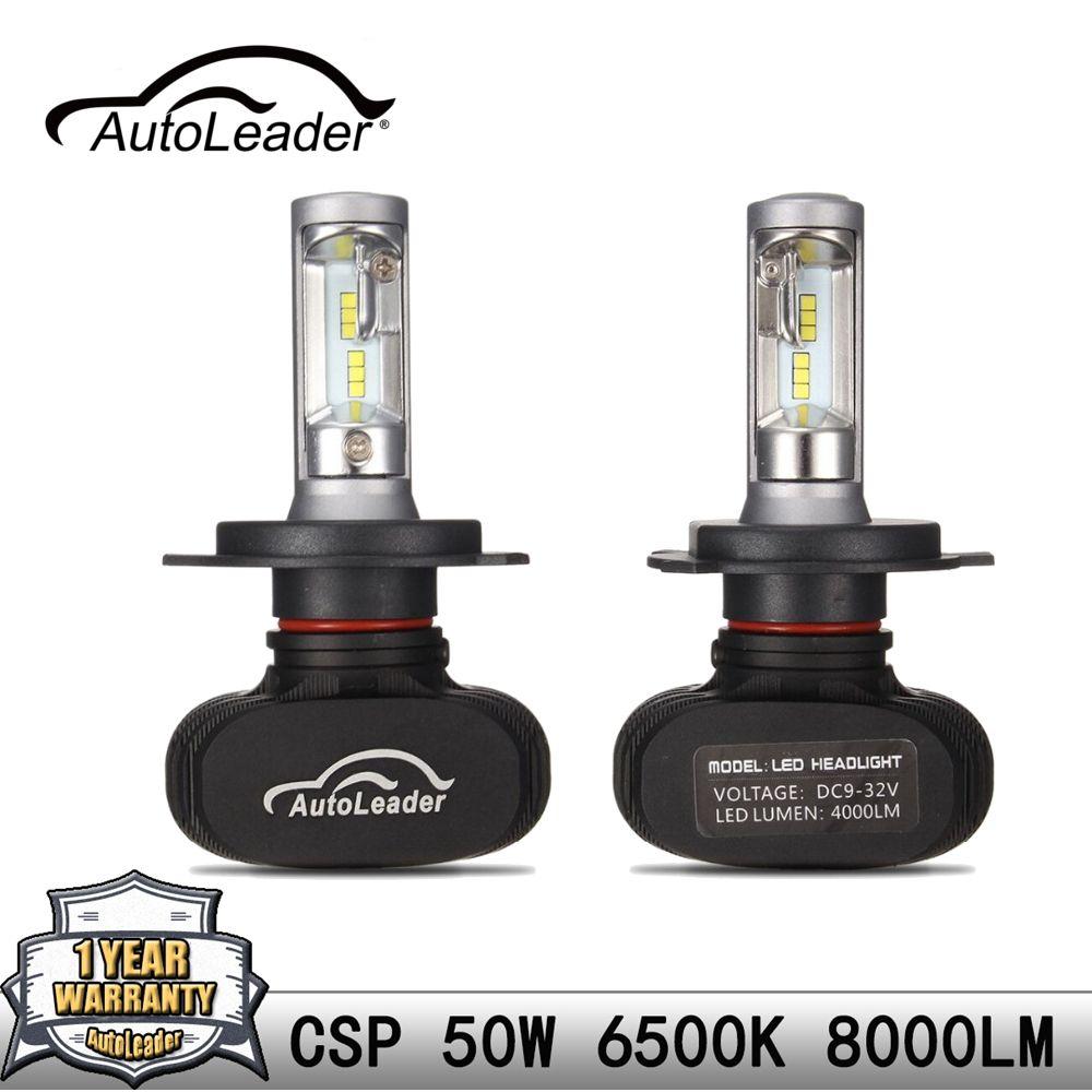 AutoLeader H4 H7 H11 9006 9005 1 paire LED voiture phare ampoule Hi-Lo faisceau Auto LED phare CSP puce 50 W/Set 6500 K 8000LM style