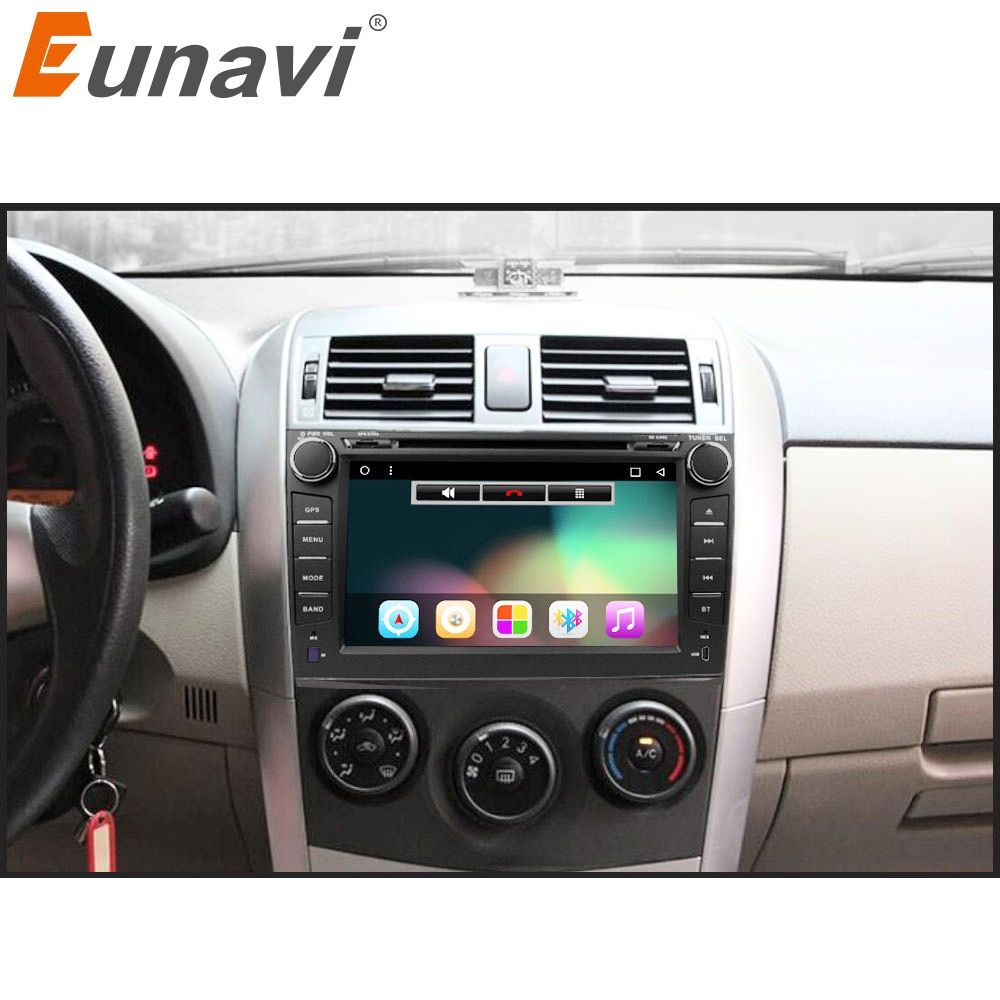 Eunavi 2 din Android 7.1 8.1 car dvd player gps for Toyota Corolla 2007 2008 2009 2010 2011 1024*600 screen 8'' car stereo radio