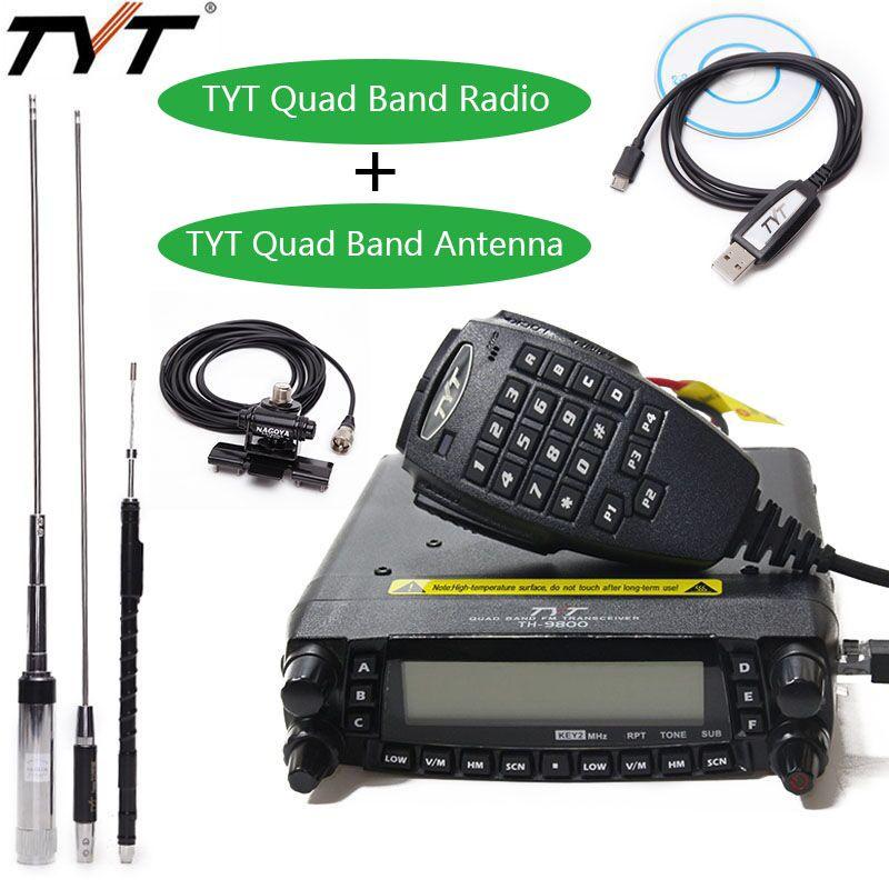 TYT TH-9800 Plus Quad Band 50 watt Auto Mobile Radio Station Walkie Talkie mit Original TYT TH9800 Quad-Band Antenne TH 9800 Radio