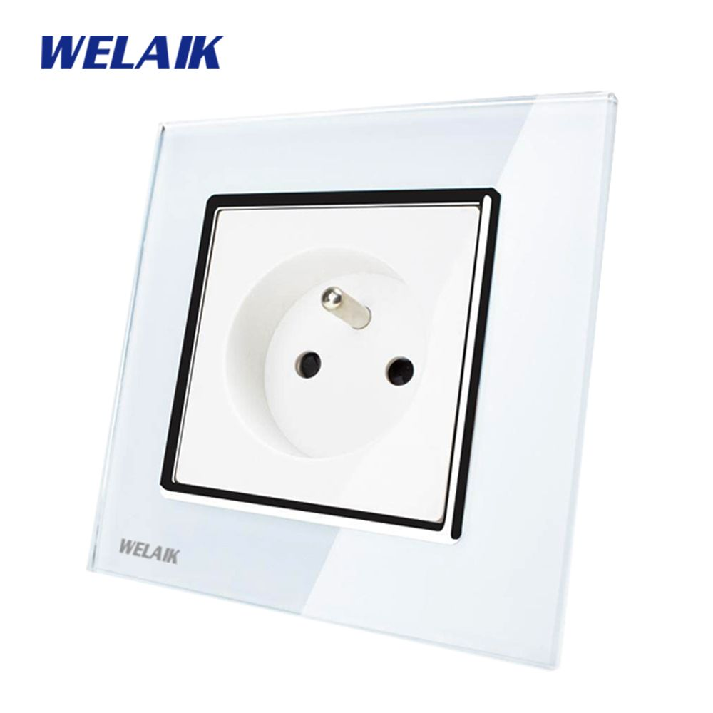 WELAIK EU Wall Socket Wall Power Socket New Outlet French Standard White Crystal Glass Panel AC 110~250V 16A A18FW