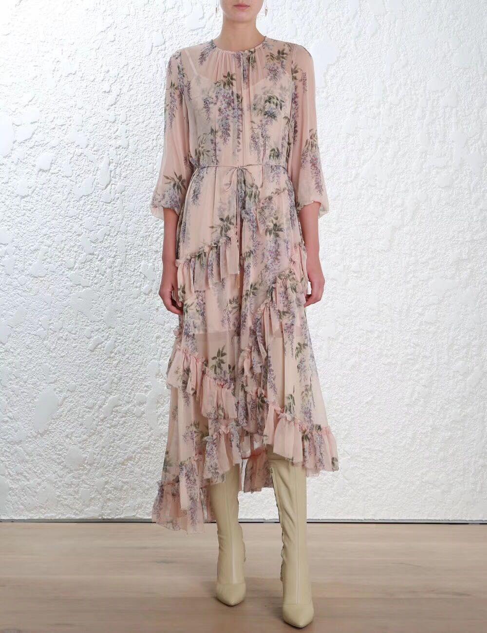 Women Floral Silk Georgette Folly Feathery Dress Ruffles Asymmetric Sheer Midi Dress