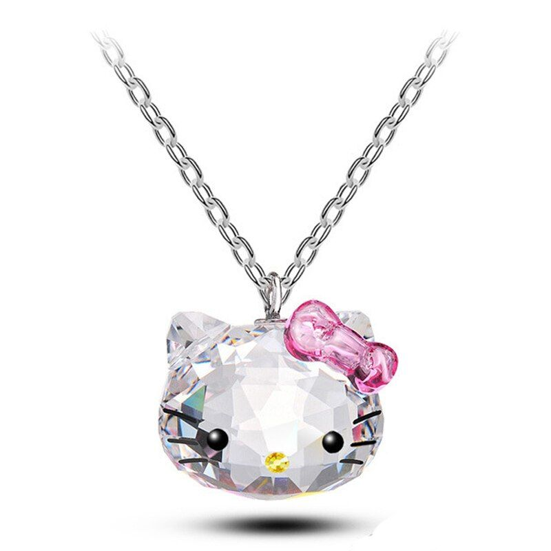 Crystals From Swarovski Jewelry Bojiux Stainless Steel Chain Necklace Pendants Cute Hello Kitty Cat Necklaces For Women Brincos
