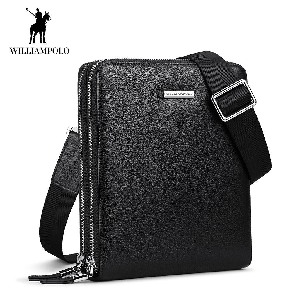 WilliamPOLO Männer Schulter Tasche Umhängetaschen Echtem Leder Aktentasche Sling Taschen Einstellbare Schulter Gurt Casual Schwarz Große