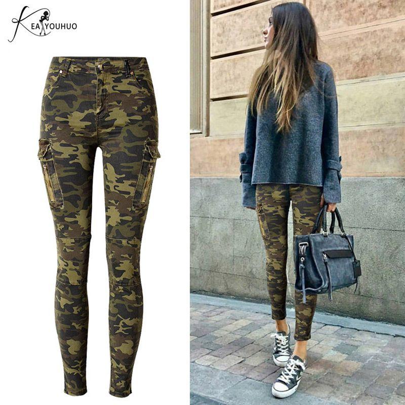 2019 hiver crayon grande taille Cargo Jeans Femme taille haute Camouflage armée Pantalon pour femmes Joggers femmes Pantalon Femme