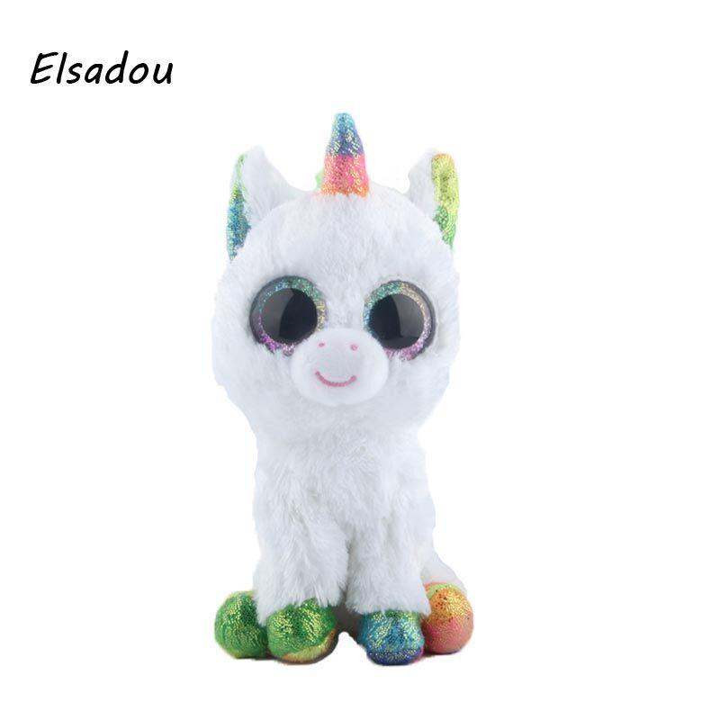 Elsadou Ty Beanie Boos Stuffed & Plush Animals Colorful White Unicorn Toy Doll