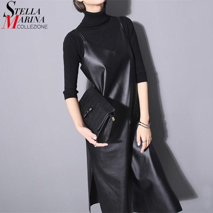 New 2017 Fashion Women Leather Dress Black Solid Sleeveless Spaghetti Straps Bottom Split Sexy Nigh Party Club Dresses Style 746
