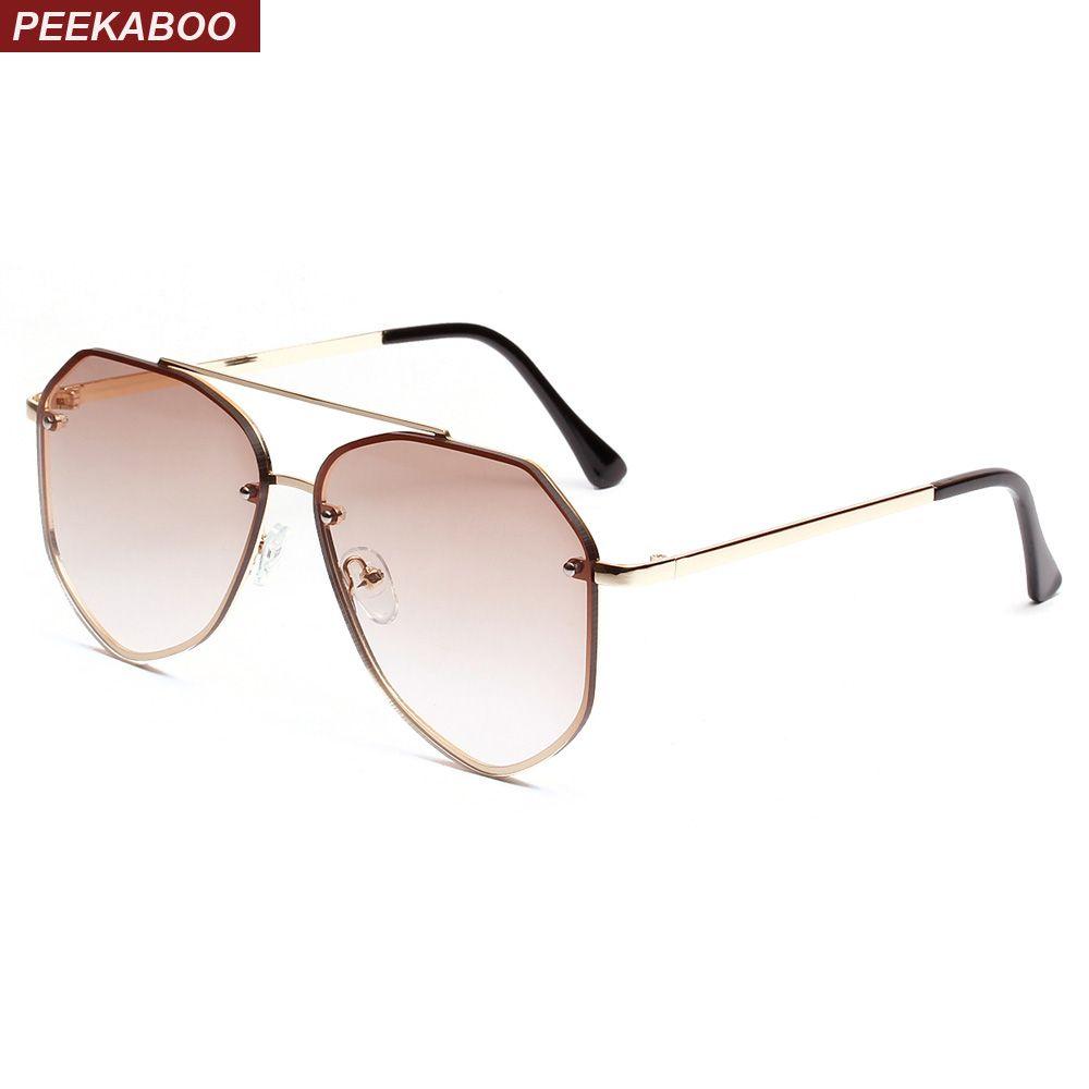 Peekaboo men flat top sunglasses women metal frame 2019 summer women clear lens sun glasses for men uv400 blue pink purple