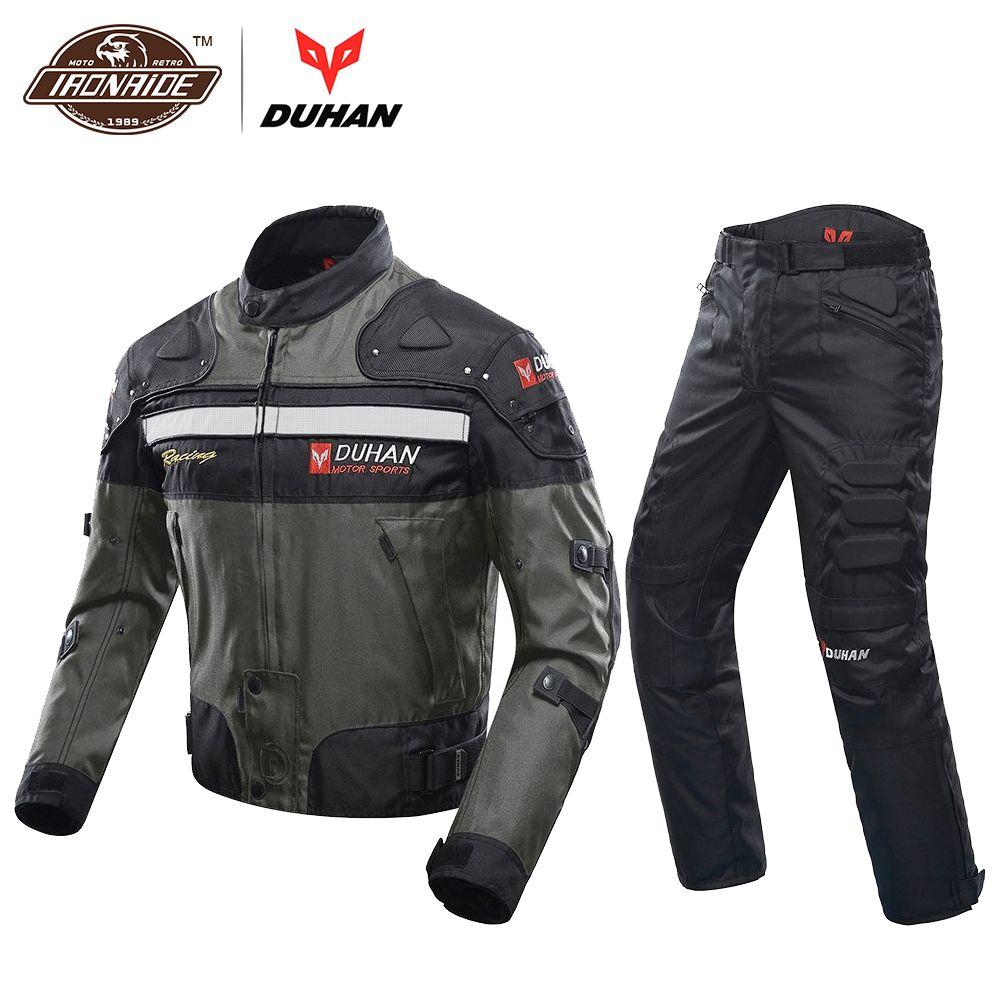 DUHAN Winddicht Motorrad Racing Anzug Schutz Getriebe Rüstung Motorrad Jacke + Motorrad Hosen Hüfte Protector Moto Kleidung Set