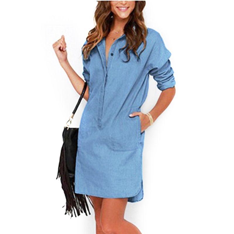 Robe de mode Femmes 2017 Irrégulière Denim Robes Chemise À Manches Longues Robe Casual Lâche Bureau Jean Robes Robes LJ1286C