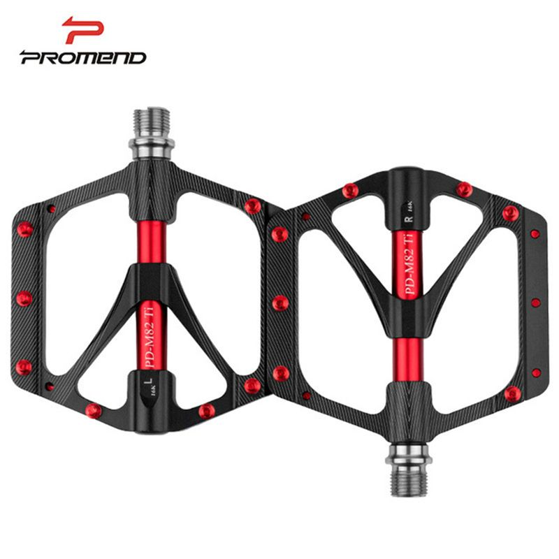251g Ti Axle Ultra-light Bicycle Pedals CNC Magnesium Alloy Mountain Bike Pedals Widen Titanium Pedal Road MTB 6 Bearings Black