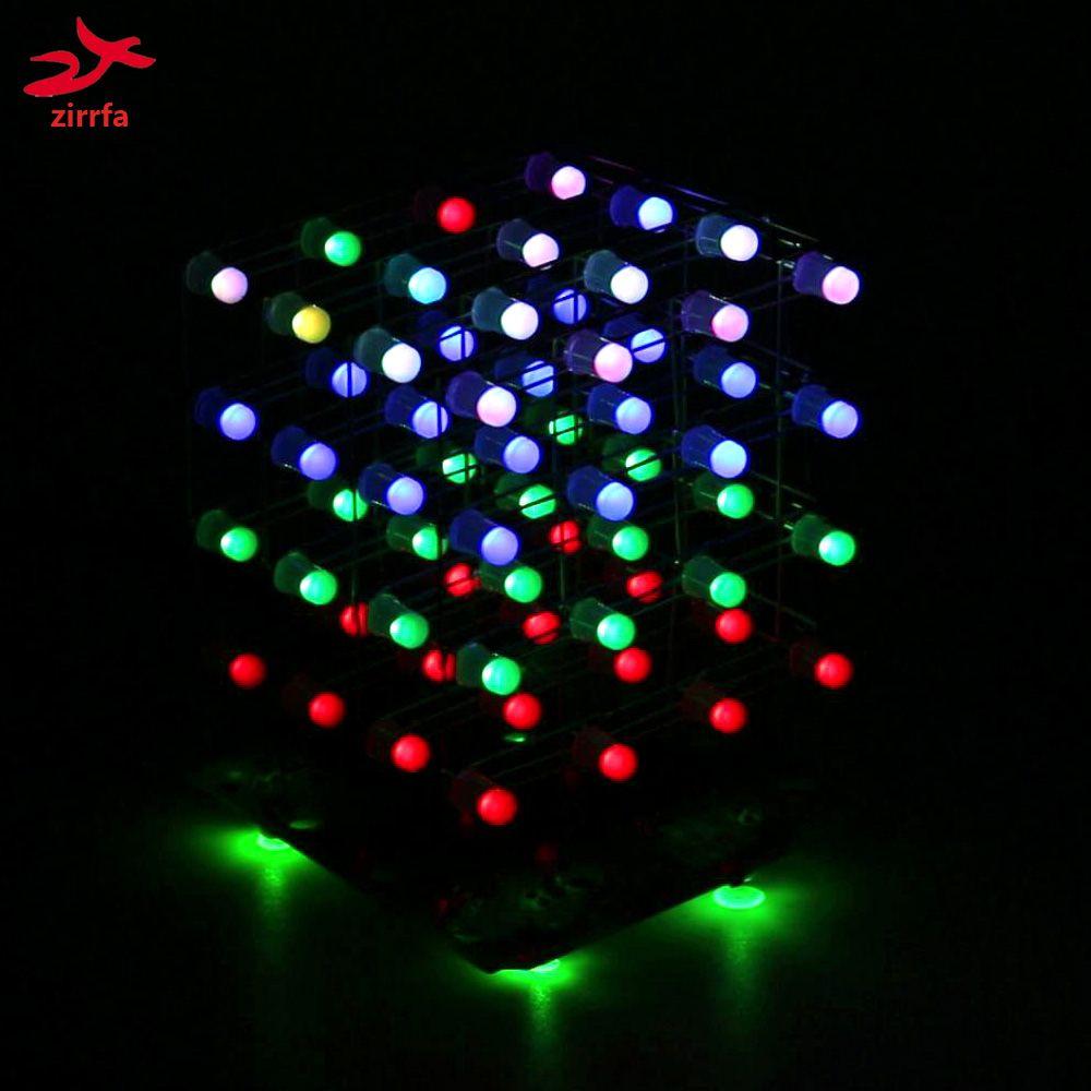 Zirrfa Date 3D 4X4X4 RGB cubeeds Pleine Couleur Led d'affichage Électronique DIY Kit/Junior 4*4*4 soutien Audrio haute qualité