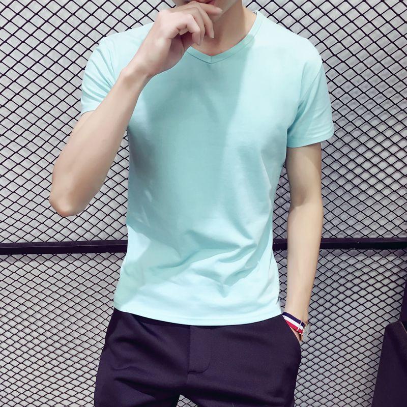 2017 new short-sleeved t-shirts men's wear south Korean v-neck summer coat with a full-color men's bottom shirt and half sleeves