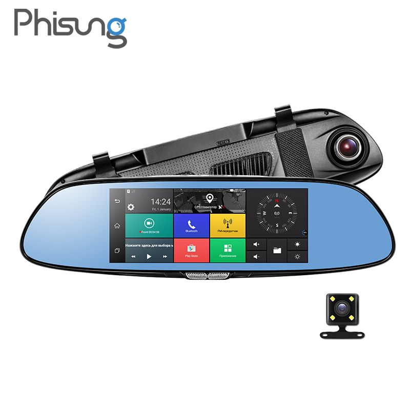 Phisung C08 3G Car Camera 7 <font><b>Android</b></font> 5.0 GPS dvr car video recorder Bluetooth WIFI Dual Lens rearview mirror Dash cam car dvrs