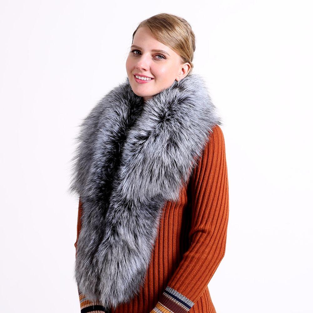 2018 Ring Fashion Solid Heißer Verkauf Winter 100% Natürliche Pelz Schal Luxus Fuchs Kragen 130 cm Frauen Echt Kragen Unten tragen Großhandel