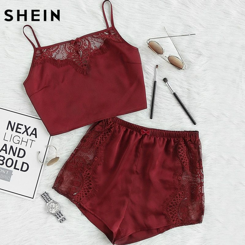 SHEIN 2 Piece Outfits for Women Sexy Top and Shorts Set Burgundy Lace Insert Crop Cami Top and Shorts Pajama Set