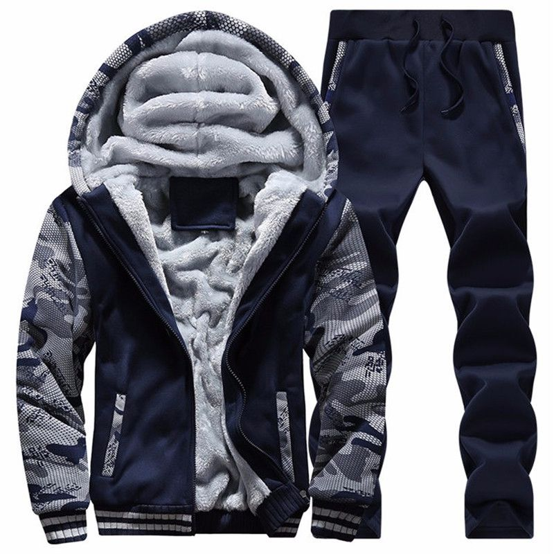 Winter Brand Mens Tracksuit Two Piece Sets All Cotton Thick Hooded Jacket + Pants Sporting Suit Male Camouflage Sleeve Hoodies