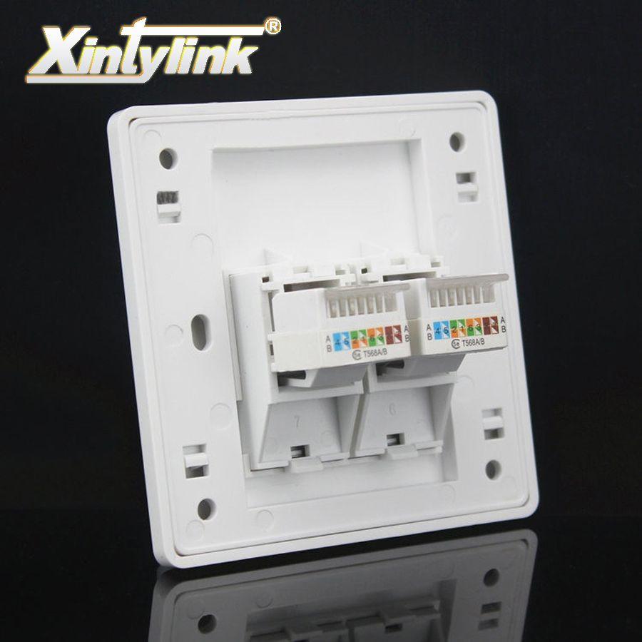 Xintylink prise murale panneau rj45 jack modulaire 2port cat5e cat6 pc Murale Keystone plaque Frontale Façade toolless 86mm ordinateur