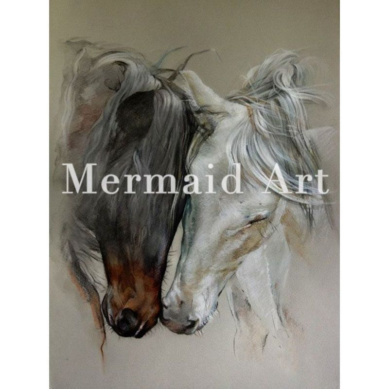 Hand painted high quality animal abstract art home decoration two horse head oil painting on canvas for in Ving Room Artwork