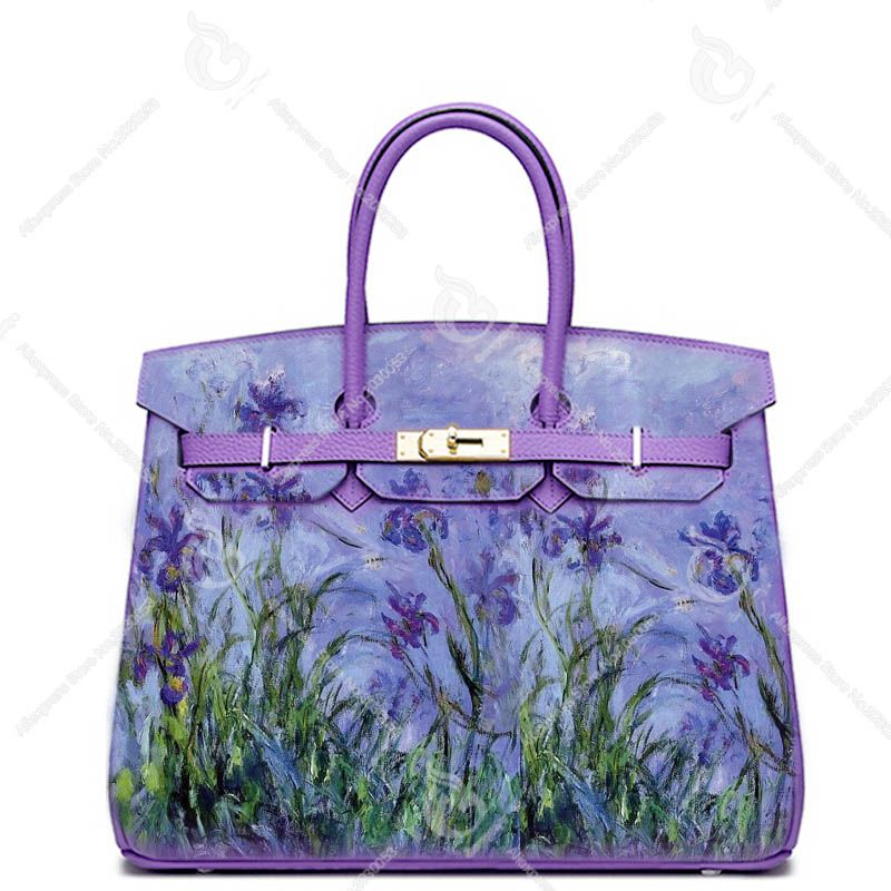 Togo leather Hand Drawing Monet Lavender Irises Hand Bags Genuine Leather Handbags Luxury Designer bags Real Cowskin Women Totes