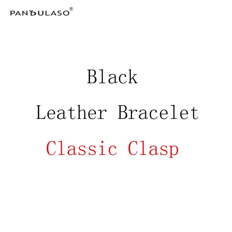 Pandulaso Black Leather Bracelets with Classic Silver Clasp Original Silver 925 Charms Bracelets Rope for Women DIY Jewelry