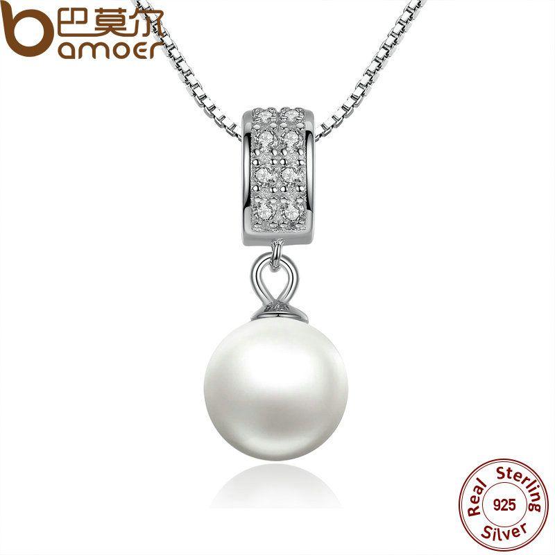 BAMOER 925 Sterling Silber Simulierte Perle Anhänger Halskette Lange Kette Halskette Schmuck Hochzeit Halskette Zubehör SCN030
