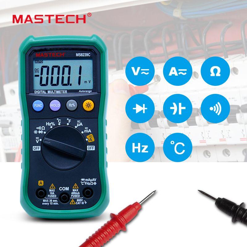 Multimètre numérique MASTECH MS8239C AC DC Tension Courant Capacité Fréquence Température Testeur Auto gamme multimetro 3 3/4