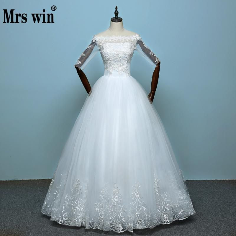 China Vestidos De Noiva 2017 New Arrival Lace Boat Neck Lace Up Ball Gown  Princess Wedding Dresses
