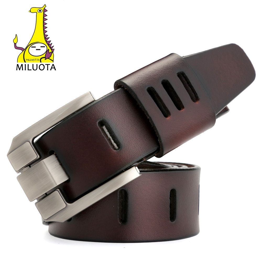 [MILUOTA] Designer Belts Men High Quality Genuine Leather Belt for Men Luxury Ceinture <font><b>Homme</b></font> Military Style 130CM MU012