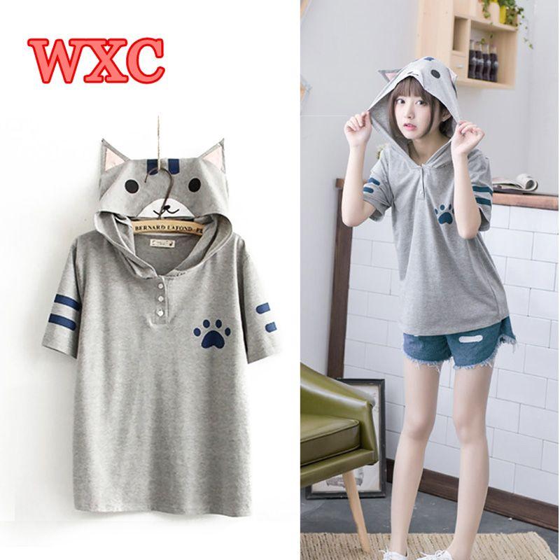 Harajuku Anime Neko Atsume Hooded T Shirt Mori Girls Cute Cat With Ears Printing Shirts Kawaii Cat Backyard Summer Tops Tee WXC