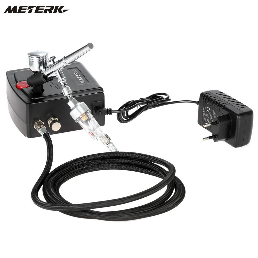Meterk 100-250V 0.3mm Gravity Feed Dual Action Airbrush Air Compressor Kit Spray Model Air Brush Tool Set
