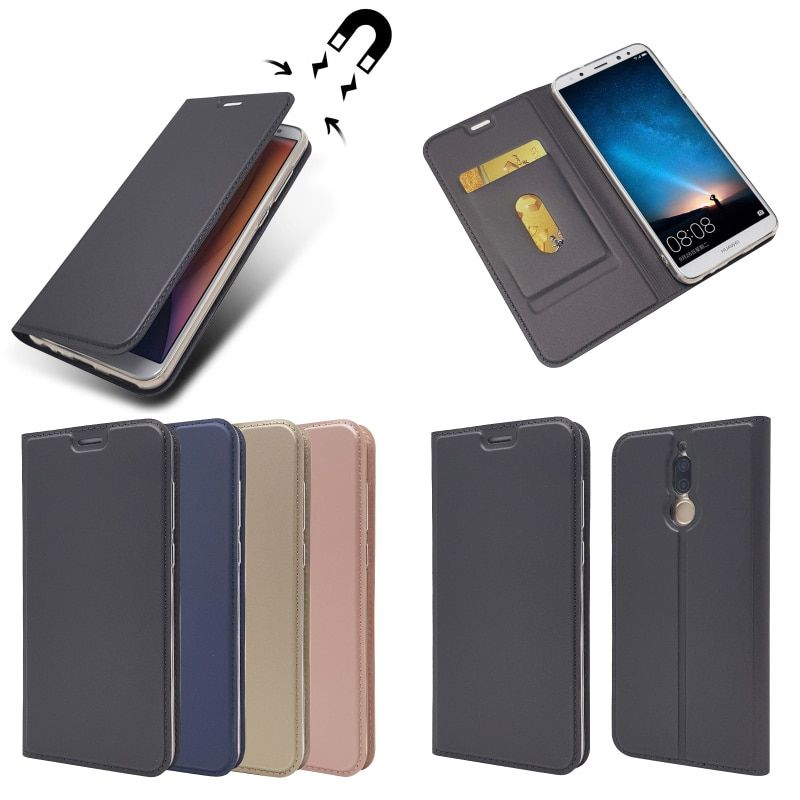 Magnetic Flip Case For HuaWei Mate 10 Lite Luxury Slim Leather Wallet Phone Bag with Card Slot Grey Navy Blue Rose Gold