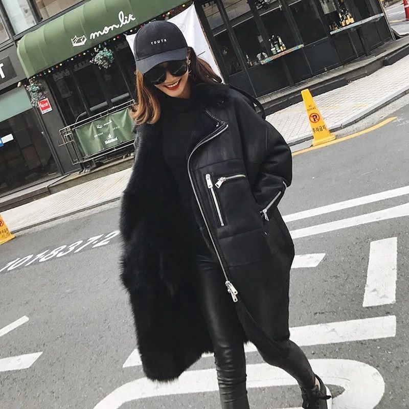 2017 Fashion Genuine Sheep Fur Coat Women Tuscany Wool Fur Coat Winter Thick Natural Sheepskin Jacket Real Sheep leather Jacket