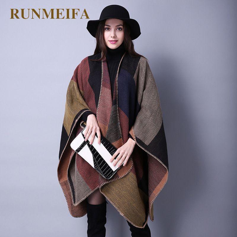 2019 nouvelle mode hiver chaud Ponchos à carreaux et Capes pour les femmes surdimensionnées châles et enveloppes cachemire Pashmina femme Bufanda Mujer